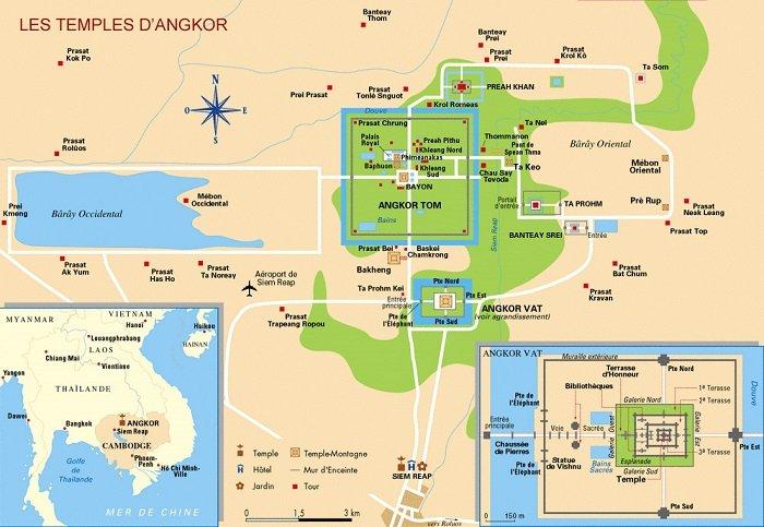 Map-Angkor700x483 Temples Angkor