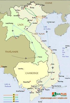Voyage Vietnam Laos 2016_TOURMAP-Circuit-combine-Laos-Vietnam-18-jours300x440