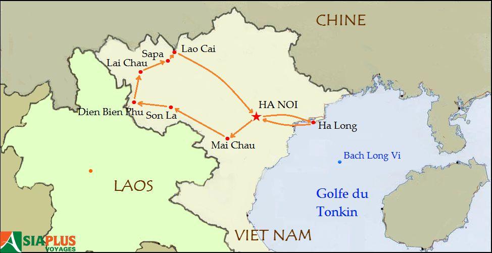 Carte-Circuit Nord-Ouest Vietnam-Tonkin-Montagnes-Nord-Ouest-11-jours