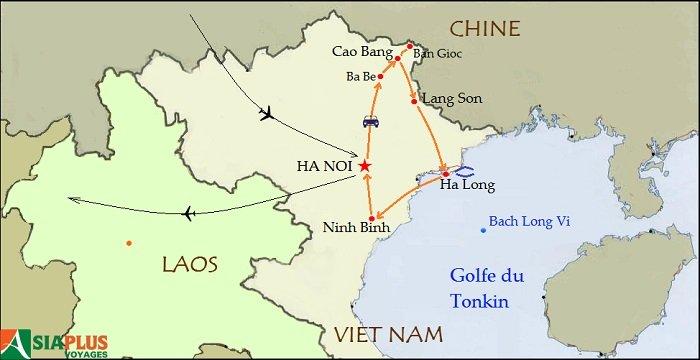 Carte-Circuit Nord-Ouest Vietnam-Tonkin et Montagnes du Nord-Ouest 11 jours