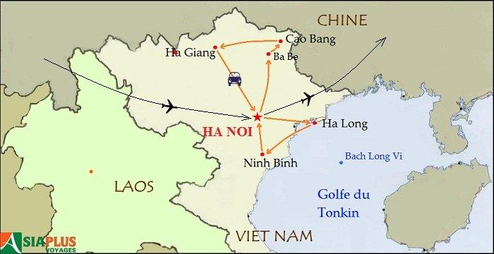 Carte-Tonkin et randonnée à Cao Bang 16 jours