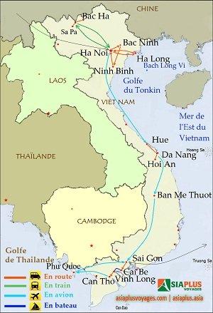 Carte-Circuit au Vietnam-Vietnam Complet 21 jours