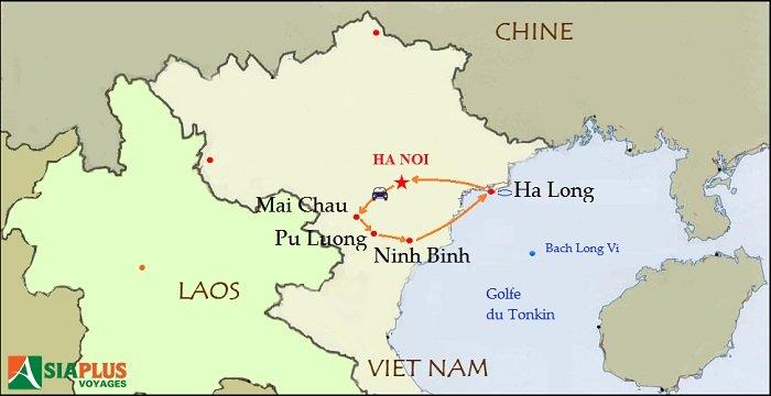 Carte-Vietnam-randonnée-Pu Luong