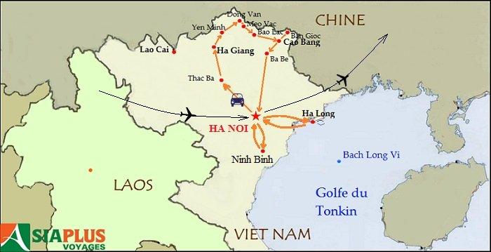 Carte- Voyages au Vietnam -Tonkin-rencontre-minorites-ethniques-15-jours
