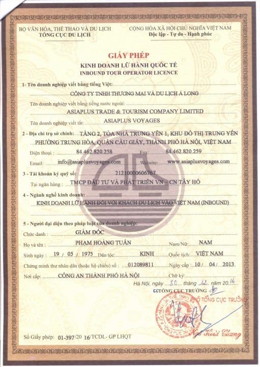 Asiaplus Voyages - Licence de tour opérateur international du Vietnam