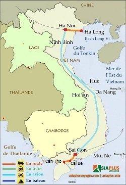 Carte de voyage vietnam classique - Charmes-du-Vietnam-10jours