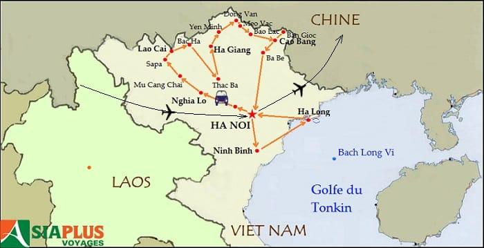 Carte du voyage - Circuits Vietnam - Saveurs du Nord du Vietnam