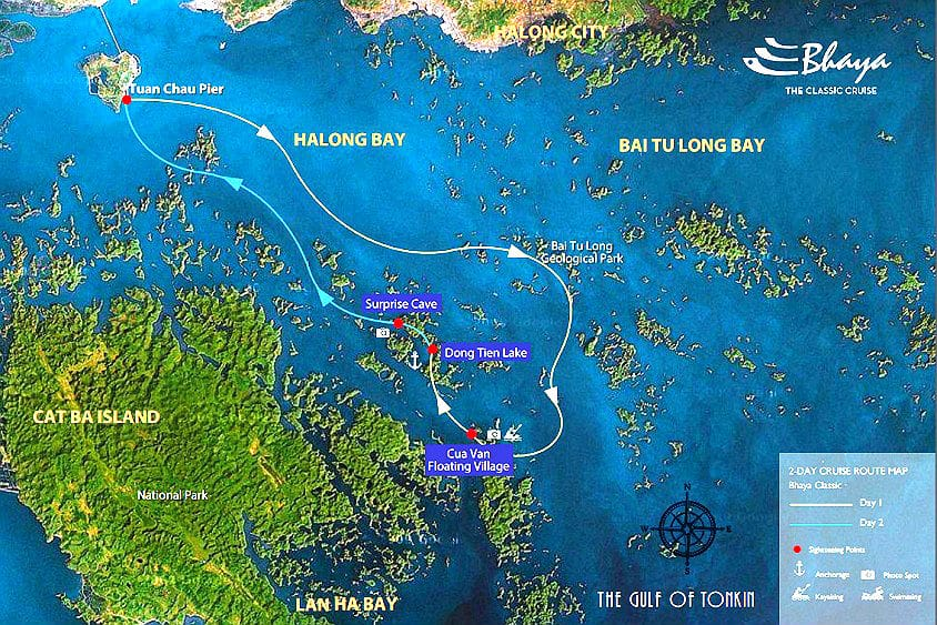 Carte-baie-Halong-Croisiere-Jonque-Bhaya-2jours-1nuit Baie d'Halong