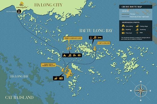MAP Halong-Bay-Bai-Tu-Long-Bay-Cruise-Itinerary-2-day-1-night-Dragon's-Pearl