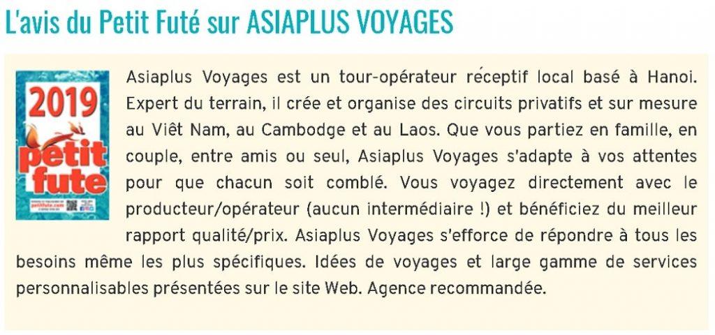 Voyagiste Vietnam - Asiaplus Voyages - Avis de Petit Fute 2019